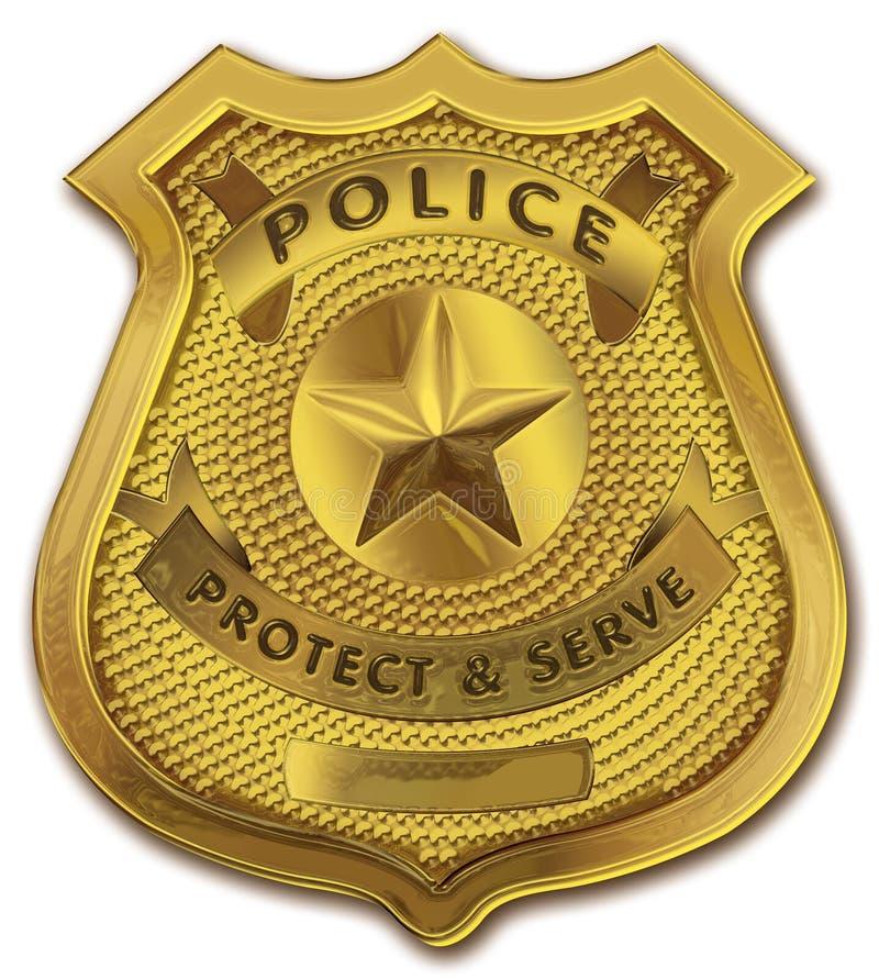 полиции офицера золота значка иллюстрация вектора