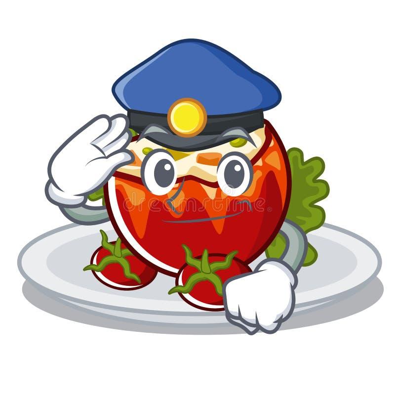 Полиция заполнила томаты положенные на плиты характера иллюстрация штока