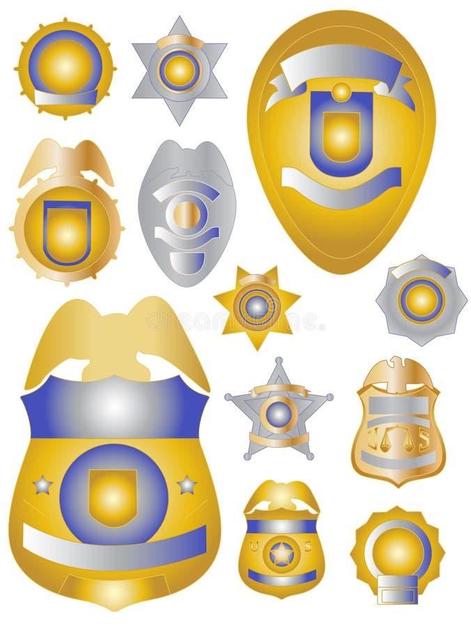 полиция золота значков латунная защищает олово 12 стоковые изображения