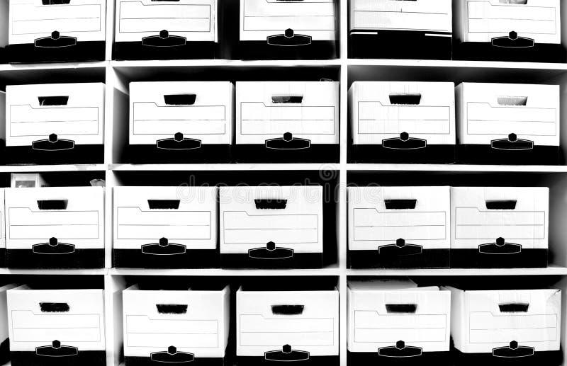 полка архива коробок стоковое изображение