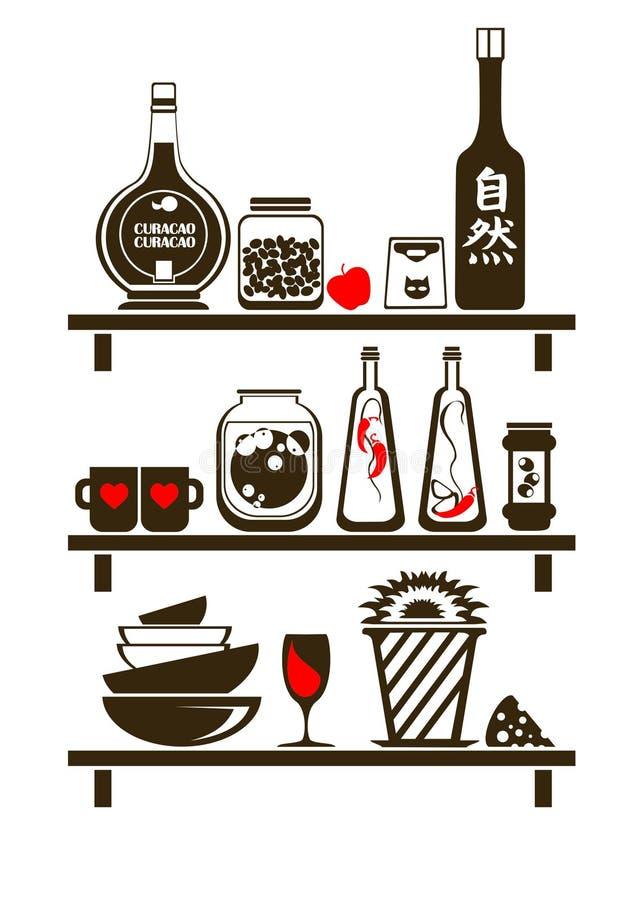 полки кухни иллюстрация вектора