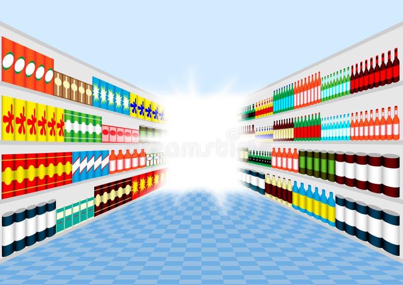 Полки супермаркета иллюстрация вектора