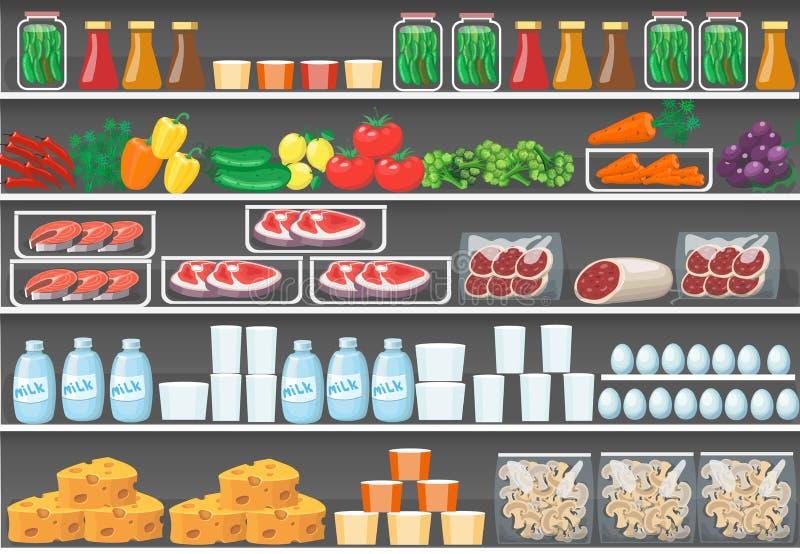 Полки с продуктами супермаркет еды вектора иллюстрация штока
