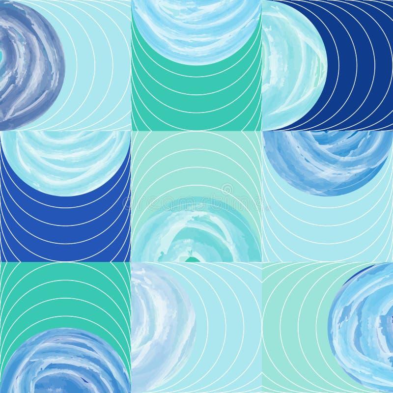 Полкруга и картина квадратной акварели формы безшовная бесплатная иллюстрация