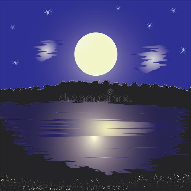 полная ноча луны ландшафта озера иллюстрация штока