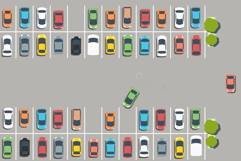полная стоянка автомобилей серии иллюстрация вектора