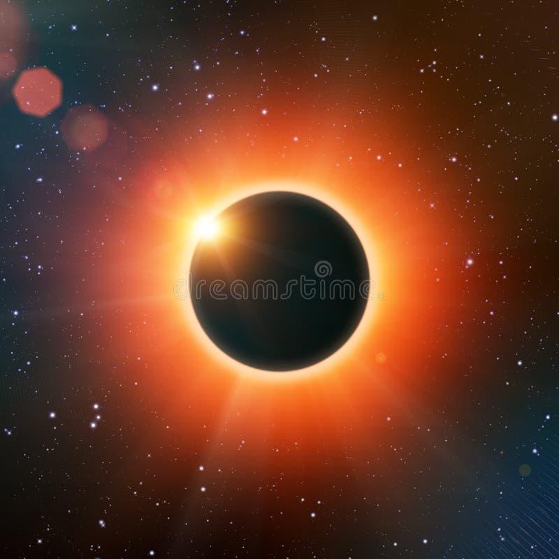 Полное солнечное затмение иллюстрация штока