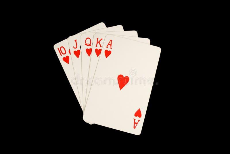 полной покер изолированный рукой королевский стоковая фотография