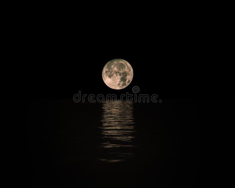 Полнолуние поднимая над штилем на море с отражением на воде стоковое изображение rf