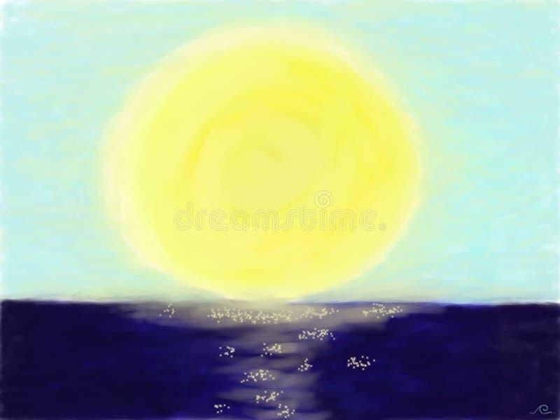 Полнолуние с золотым отражением на темно-синем море иллюстрация штока
