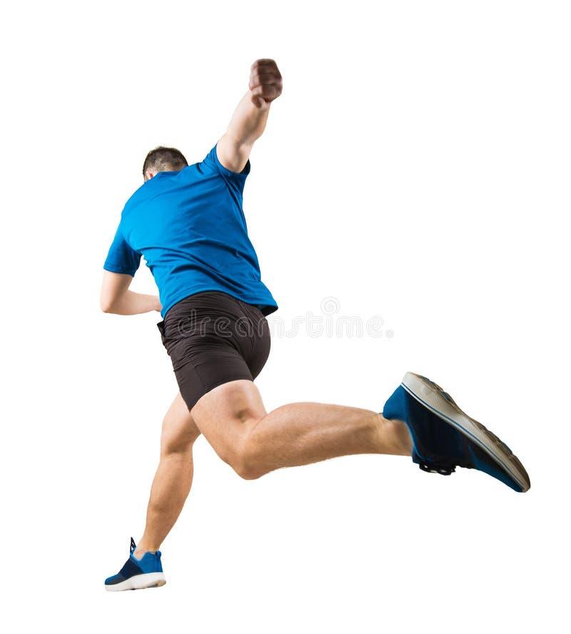 Полнометражный вид сзади скорости решительного кавказского спортсмена человека быстрой бежать или скача над препоной изолированно стоковая фотография