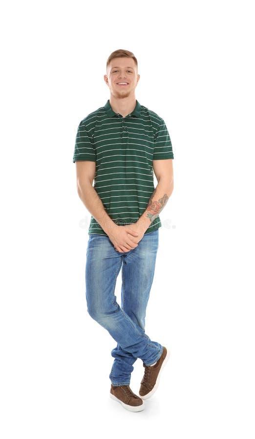 Полнометражный портрет красивого человека на белой предпосылке стоковое изображение rf