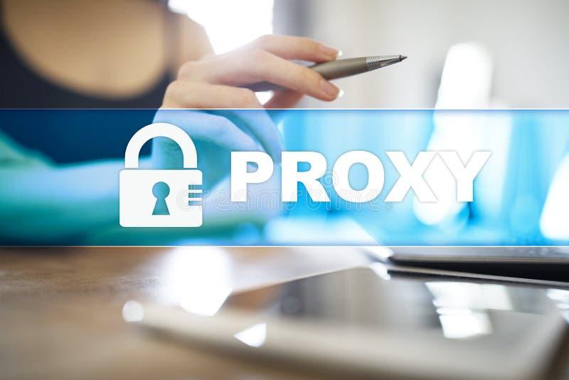 Полномочие, VPN, безопасная концепция доступа в интернет на виртуальном экране стоковые изображения