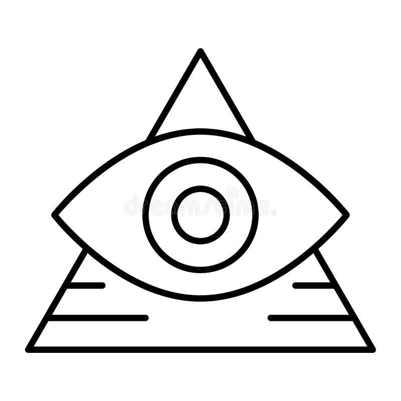 Полностью видя глаз тонко выравнивает значок Пирамида при иллюстрация вектора глаза изолированная на белизне Стиль плана треуголь иллюстрация штока