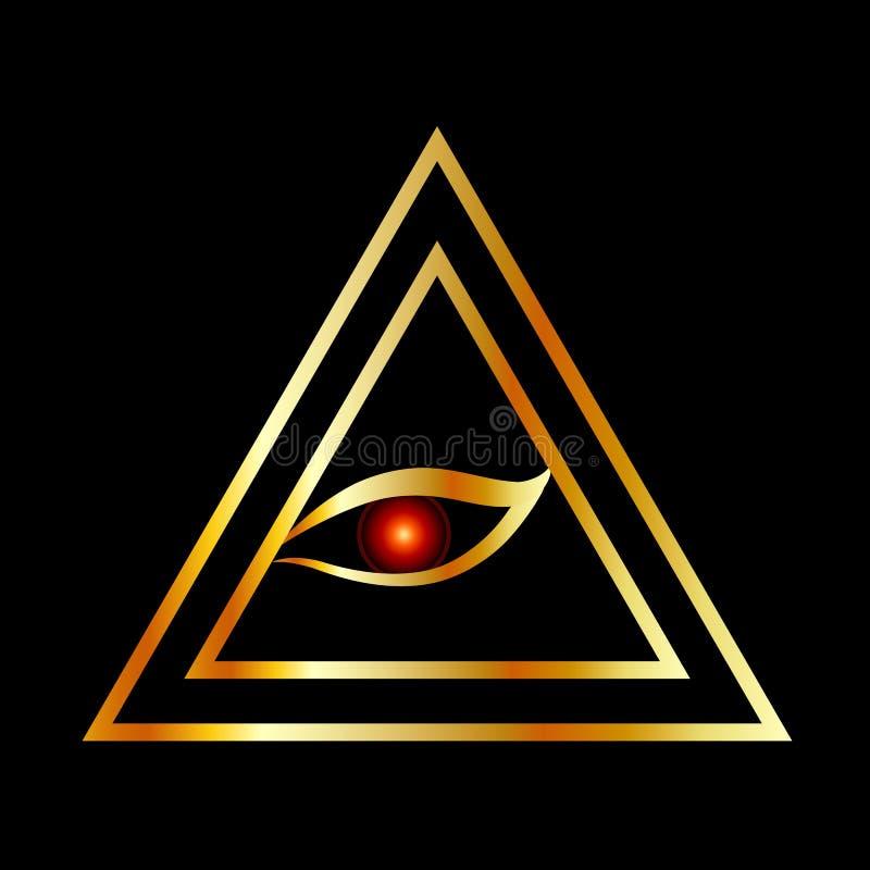 Полностью видя глаз illuminati в золоте бесплатная иллюстрация