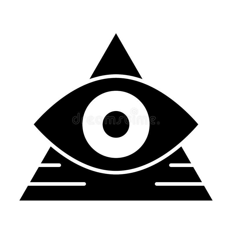Полностью видя значок твердого тела глаза Пирамида при иллюстрация вектора глаза изолированная на белизне Треугольник и дизайн ст иллюстрация штока