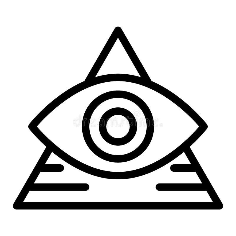 Полностью видя линия значок глаза Пирамида при иллюстрация вектора глаза изолированная на белизне Треугольник и дизайн стиля план иллюстрация вектора