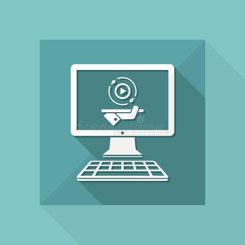 Полные обслуживания мультимедиа - значок вектора плоский иллюстрация вектора