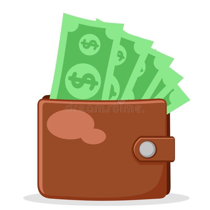 Полный бумажник бумажных денег на белом изолировано бесплатная иллюстрация