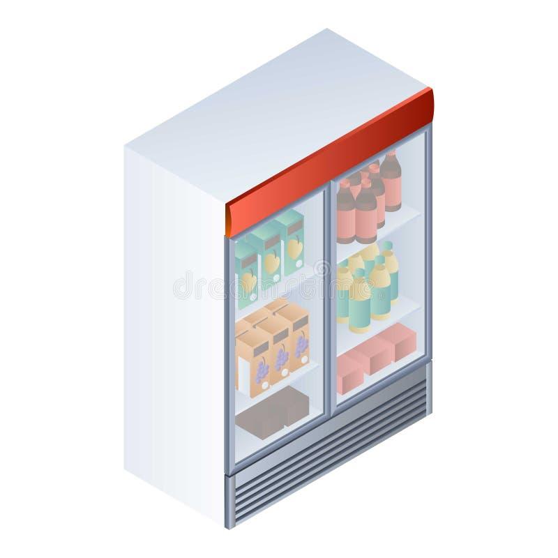 Полный значок холодильника напитка, равновеликий стиль иллюстрация вектора