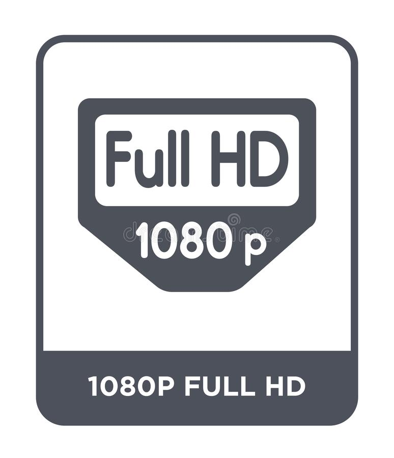 полный значок hd 1080p в ультрамодном стиле дизайна полный значок hd 1080p изолированный на белой предпосылке полный значок векто иллюстрация вектора