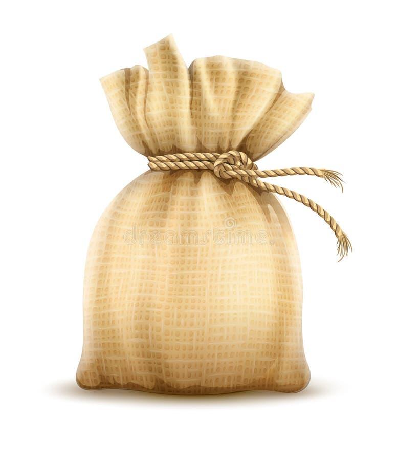 Полный мешок связанный с узлом веревочки Вес тары ткани r иллюстрация штока
