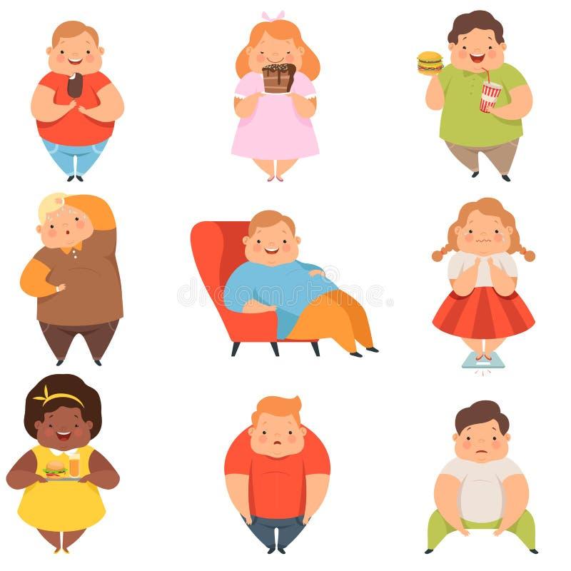 Полный набор мальчиков и девушек, милые пухлые персонажи из мультфильма детей есть иллюстрацию вектора фаст-фуда на белом иллюстрация штока