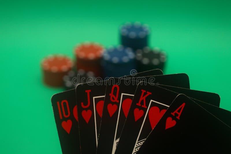 полный покер сердец руки прямо стоковое фото
