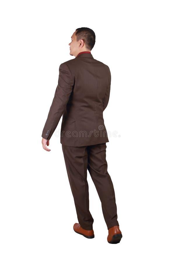 Полный портрет азиатского бизнесмена идя, вид сзади тела стоковая фотография rf