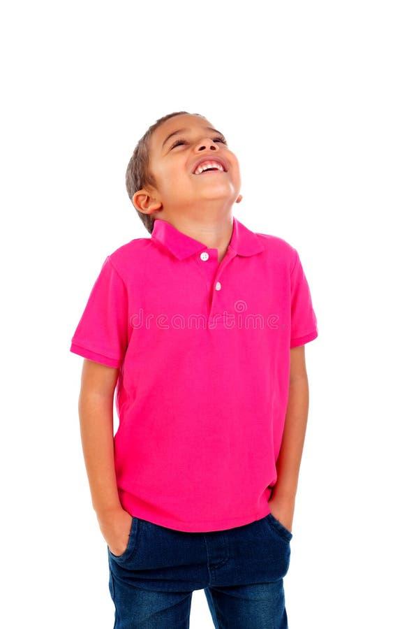Полный портрет красивого ребенка смотря вверх стоковое изображение rf