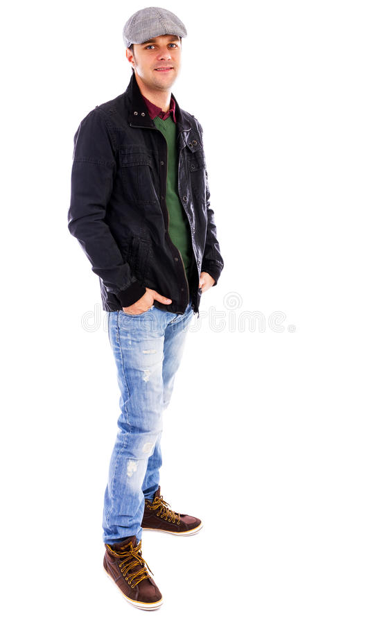 Полный портрет тела молодого человека стоковые фотографии rf