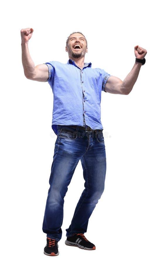 Полный портрет тела расслабленного зрелого повышения человека подготовляет над белизной стоковое фото