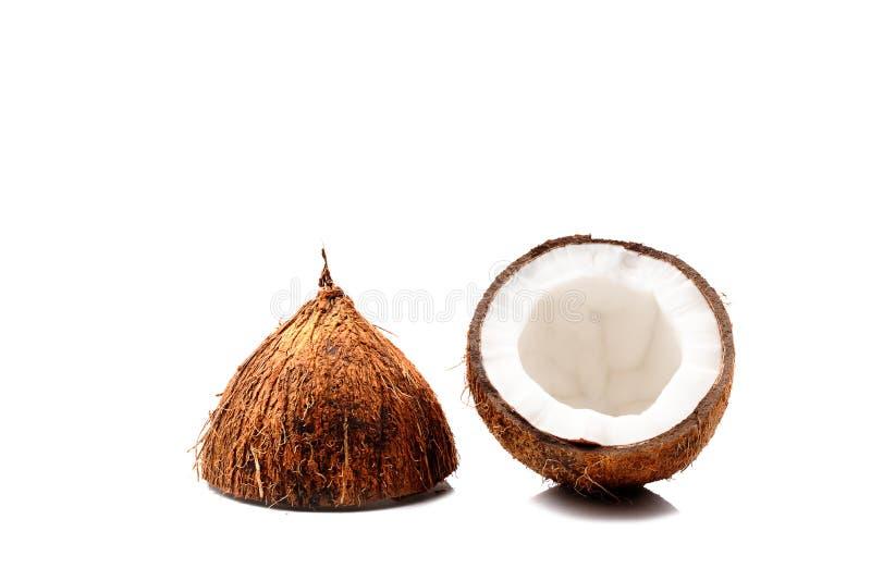 Половина кокоса изолированная на белой предпосылке стоковая фотография rf