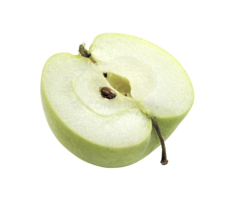 половина яблока близкая зеленая изолированная вверх стоковые изображения rf