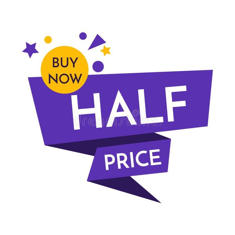 Половинная цена с плаката продажи графического с ходя по магазинам биркой Большая иллюстрация EPS вектора знамени продажи иллюстрация вектора