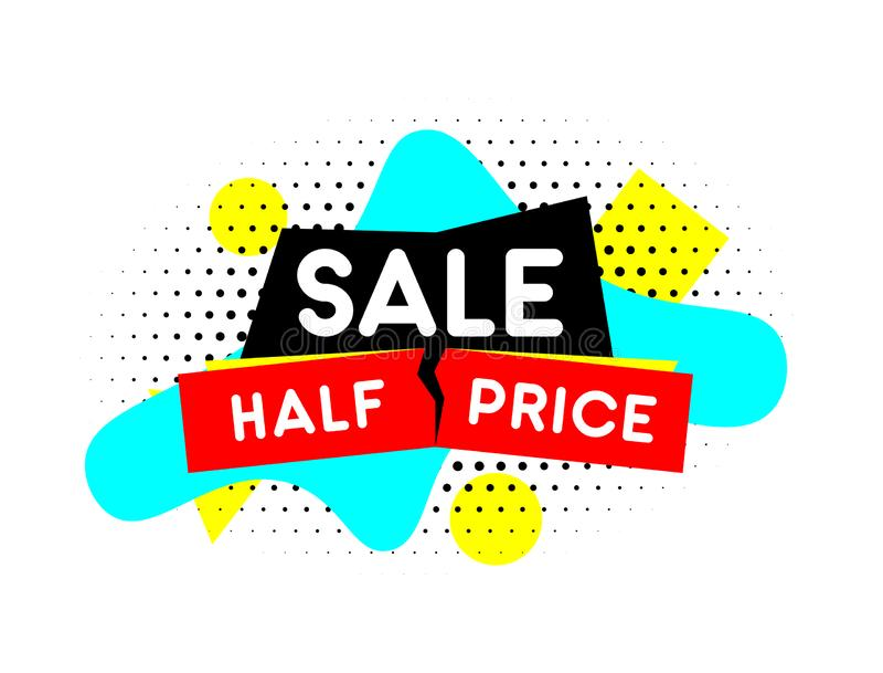 Половинное знамя цены Эмблема продажи Шаблон вектора иллюстрация вектора
