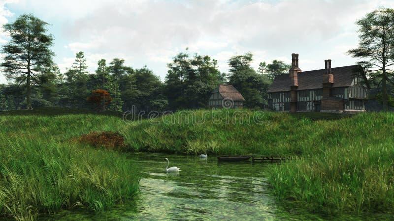половинное timbered поместье берега озера дома иллюстрация штока