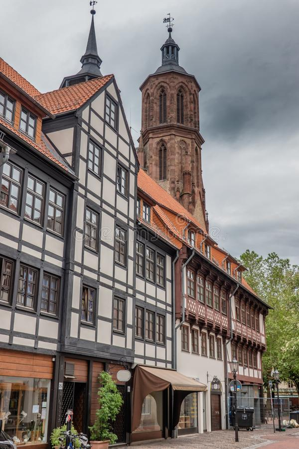 Половинные timbered дома в центре Gottingen, Германии стоковое изображение rf