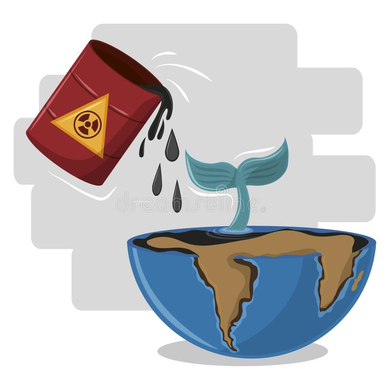Половинный глобус с кабелем токсичных отходов и кита бесплатная иллюстрация