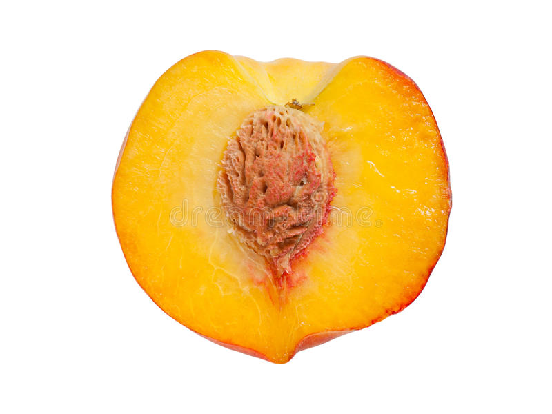 Половинный зрелый персик стоковое фото rf