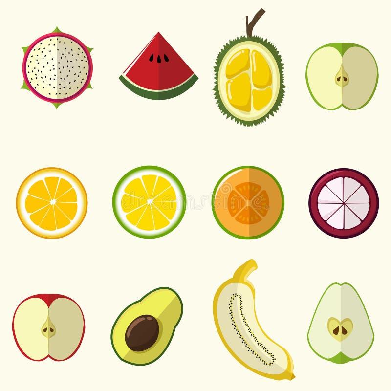 Половинный плод установил милый стиль иллюстрация вектора