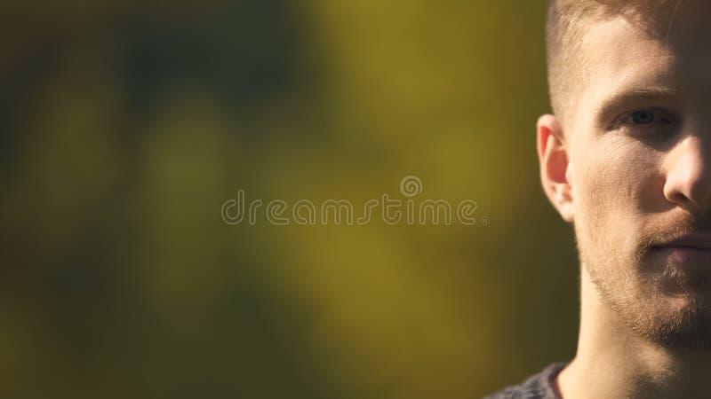 Половинный портрет стороны красивого бородатого мужчины, обзора, статистики, взгляда крупного плана стоковая фотография rf