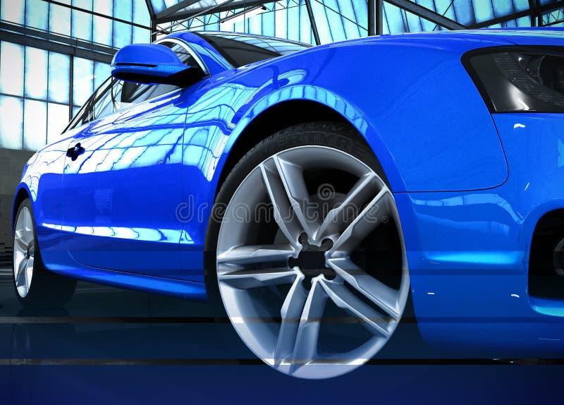 Положение автомобиля стилизованного изображения автомобиля голубое в ангаре 3d представить ima иллюстрация штока