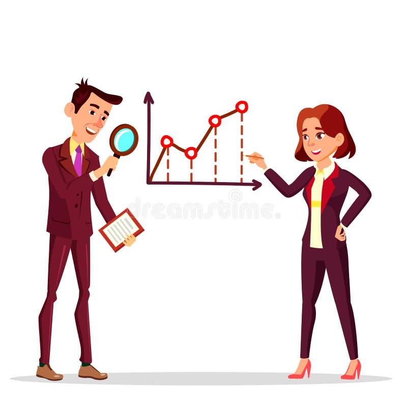 Положение бизнесмена и коммерсантки около расписания дела с мультфильмом вектора лупы и карандаша плоским иллюстрация вектора