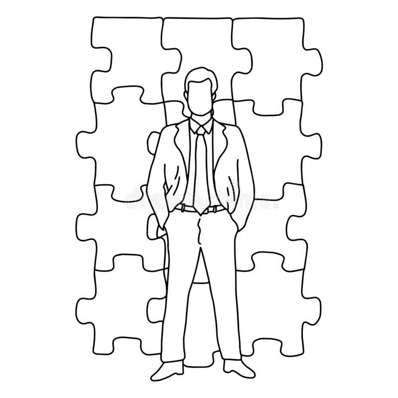 Положение бизнесмена перед рукой doodle эскиза иллюстрации вектора мозаики нарисованной с черными линиями изолированными на белиз бесплатная иллюстрация