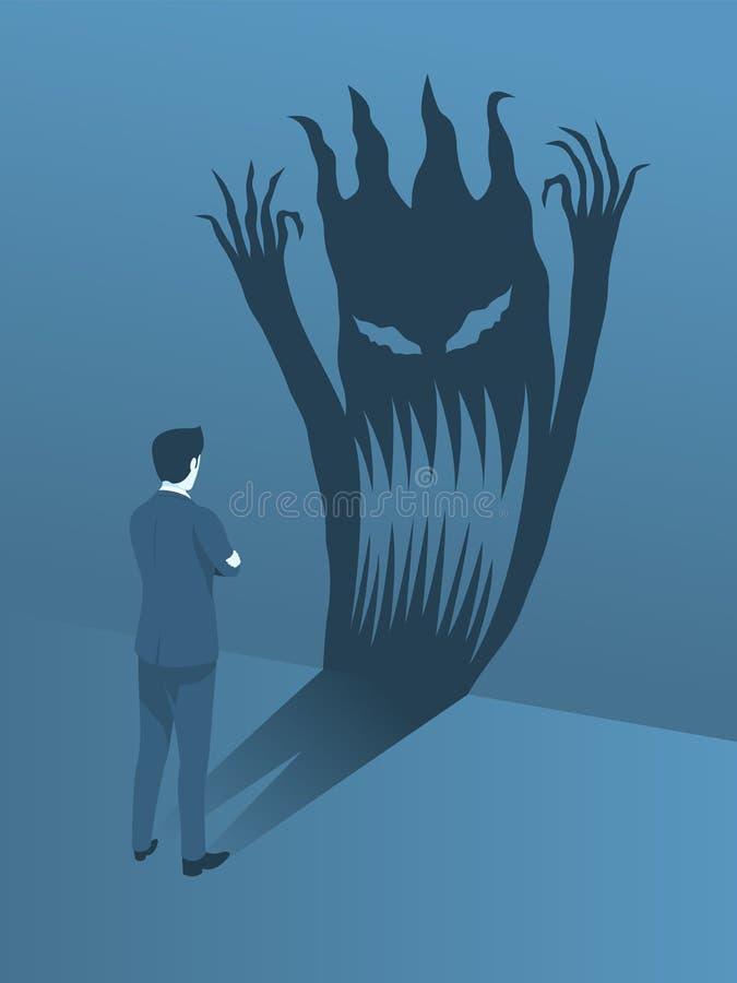 Положение бизнесмена храброе для того чтобы смотреть на его страх иллюстрация штока