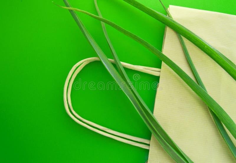 Положение бумажного взгляда сверху eco хозяйственной сумки плоское с herbaceous заводами на зеленой предпосылке, нул концепциях э стоковые фотографии rf