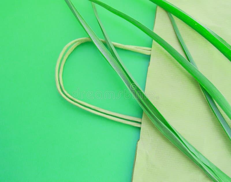 Положение бумажного взгляда сверху eco хозяйственной сумки плоское с herbaceous заводами на зеленой предпосылке, нул концепциях э стоковые изображения