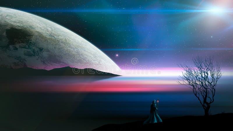 Положение волшебника на blured озере с силуэтом, планетой и деревом горы Картина цифров, перевод 3D Элементы обеспечили мимо иллюстрация штока