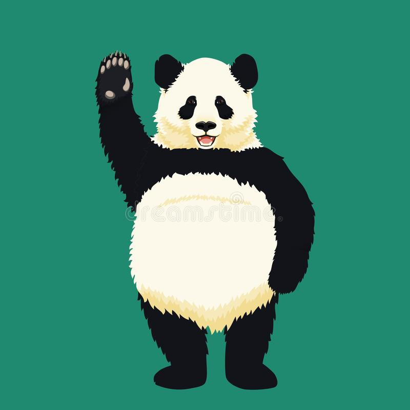 Положение гигантской панды на задних ногах, усмехаясь и развевая Черно-белый медведь Вымирающие виды иллюстрация вектора